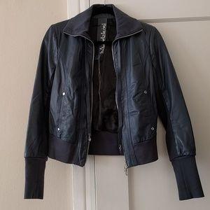 Patrizia Pepe blue leather jacket